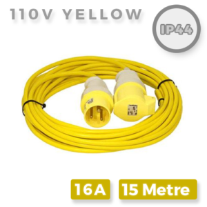110V Yellow Extension Lead 16A x 15M