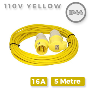 110V Yellow Extension Lead 16A x 5M