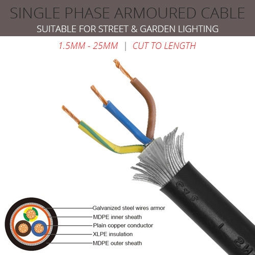 10mm x 3 core Single Phase Armoured Cable per metre
