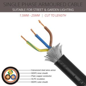 25mm x 3 core Single Phase Armoured Cable