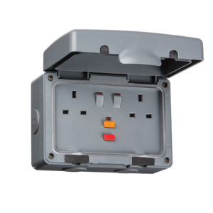 Waterproof 2 Gang Switched RCD Socket 13A IP66